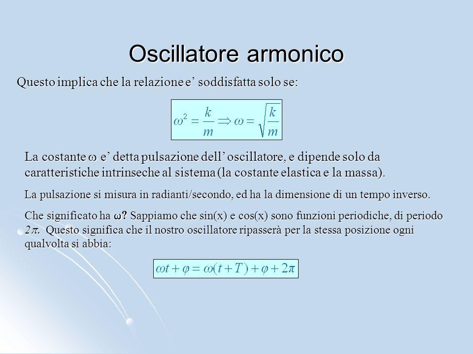 Oscillatore armonico Questo implica che la relazione e' soddisfatta solo se: La costante  e' detta pulsazione dell' oscillatore, e dipende solo da ca