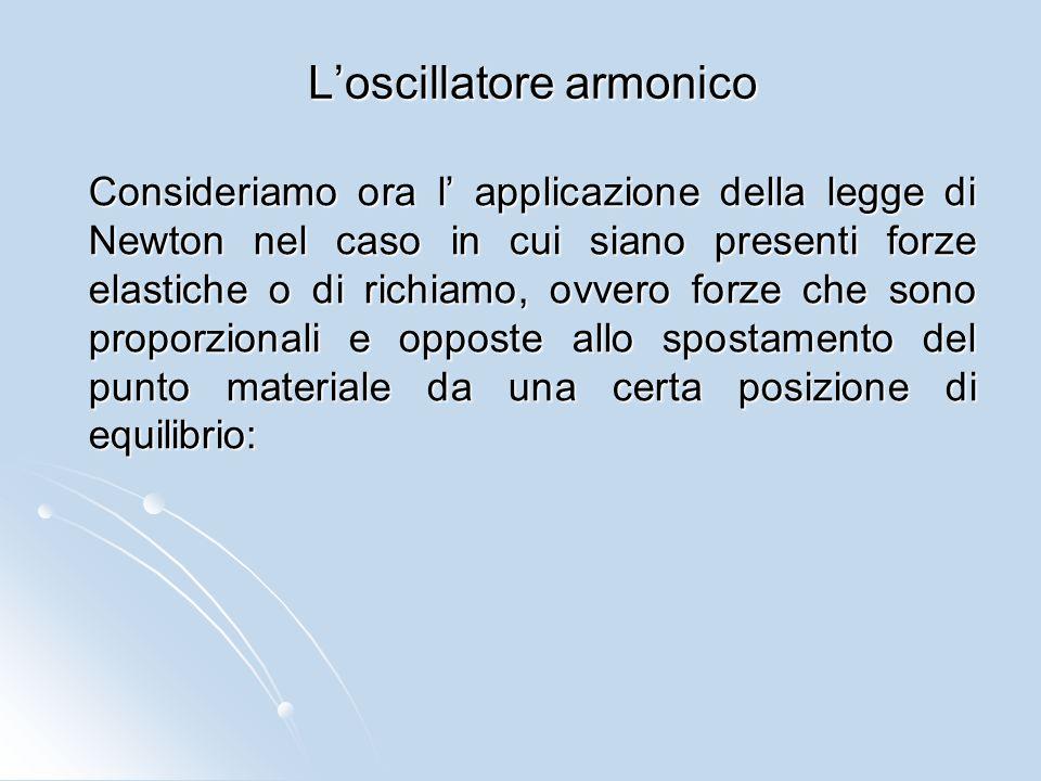 L'oscillatore armonico Consideriamo ora l' applicazione della legge di Newton nel caso in cui siano presenti forze elastiche o di richiamo, ovvero for