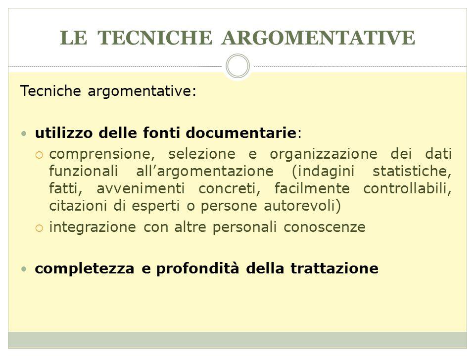 LE TECNICHE ARGOMENTATIVE Tecniche argomentative: utilizzo delle fonti documentarie:  comprensione, selezione e organizzazione dei dati funzionali al