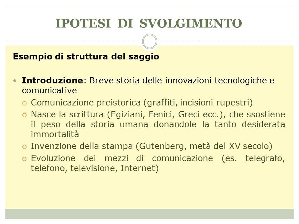 IPOTESI DI SVOLGIMENTO Esempio di struttura del saggio Introduzione: Breve storia delle innovazioni tecnologiche e comunicative  Comunicazione preist