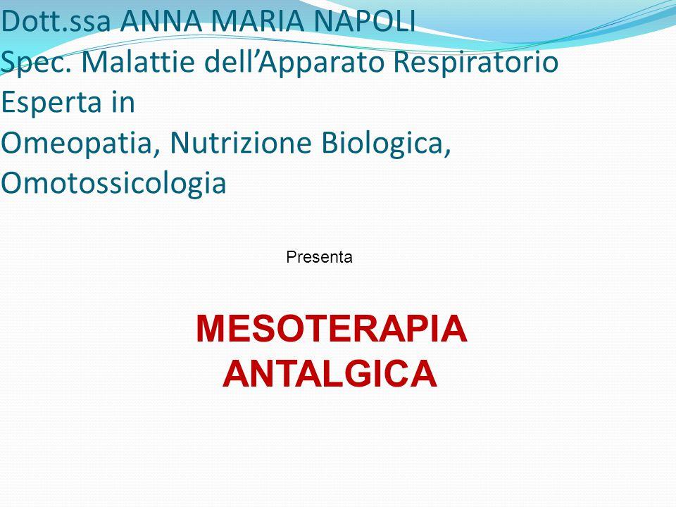 Dott.ssa ANNA MARIA NAPOLI Spec. Malattie dell'Apparato Respiratorio Esperta in Omeopatia, Nutrizione Biologica, Omotossicologia Presenta MESOTERAPIA