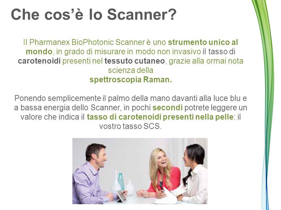 Che cos'è lo Scanner? Il Pharmanex BioPhotonic Scanner è uno strumento unico al mondo, in grado di misurare in modo non invasivo il tasso di carotenoi