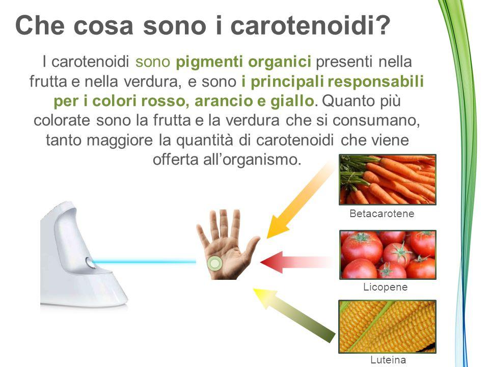 Che cosa sono i carotenoidi? I carotenoidi sono pigmenti organici presenti nella frutta e nella verdura, e sono i principali responsabili per i colori