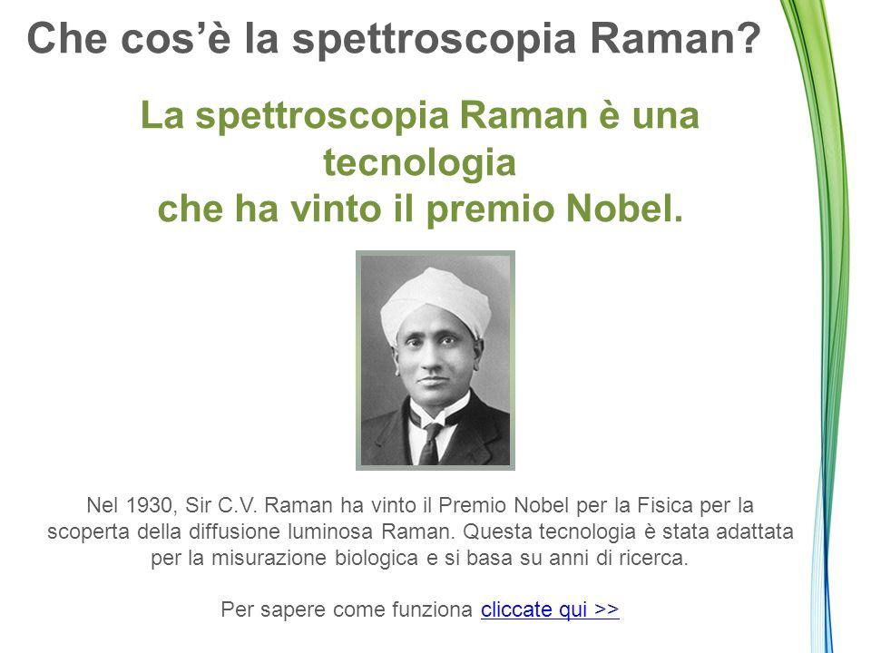 Che cos'è la spettroscopia Raman? La spettroscopia Raman è una tecnologia che ha vinto il premio Nobel. Nel 1930, Sir C.V. Raman ha vinto il Premio No
