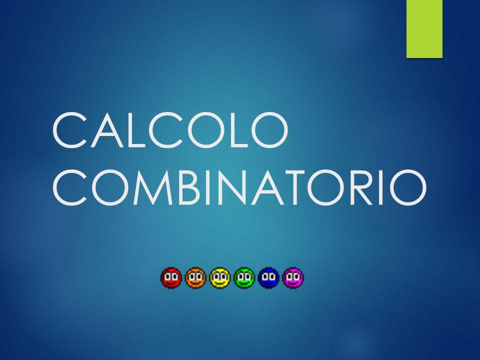 Il n° di COMBINAZIONI SEMPLICI di n oggetti distinti presi k per volta è C n,k = D n,k / k.