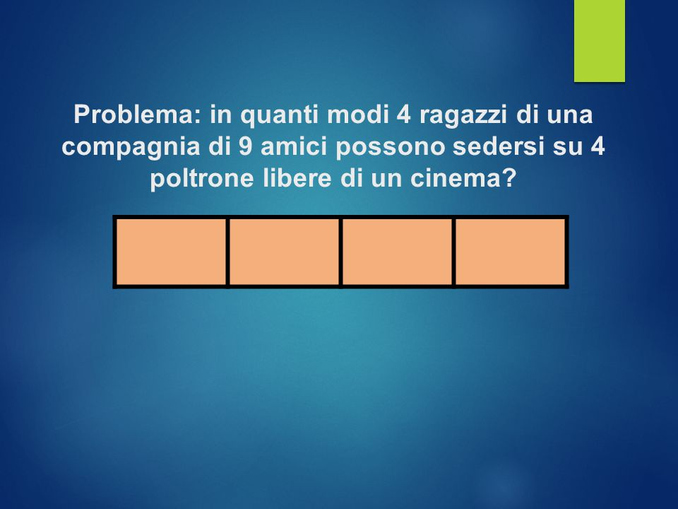 Problema: in quanti modi 4 ragazzi di una compagnia di 9 amici possono sedersi su 4 poltrone libere di un cinema?