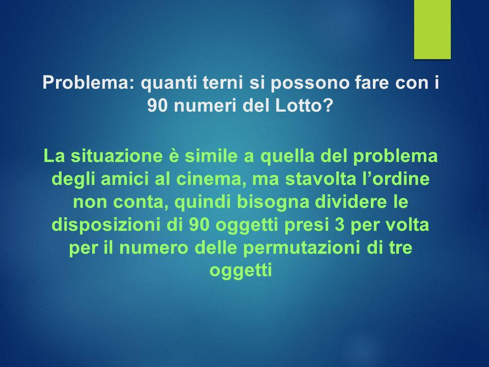 Problema: quanti terni si possono fare con i 90 numeri del Lotto.