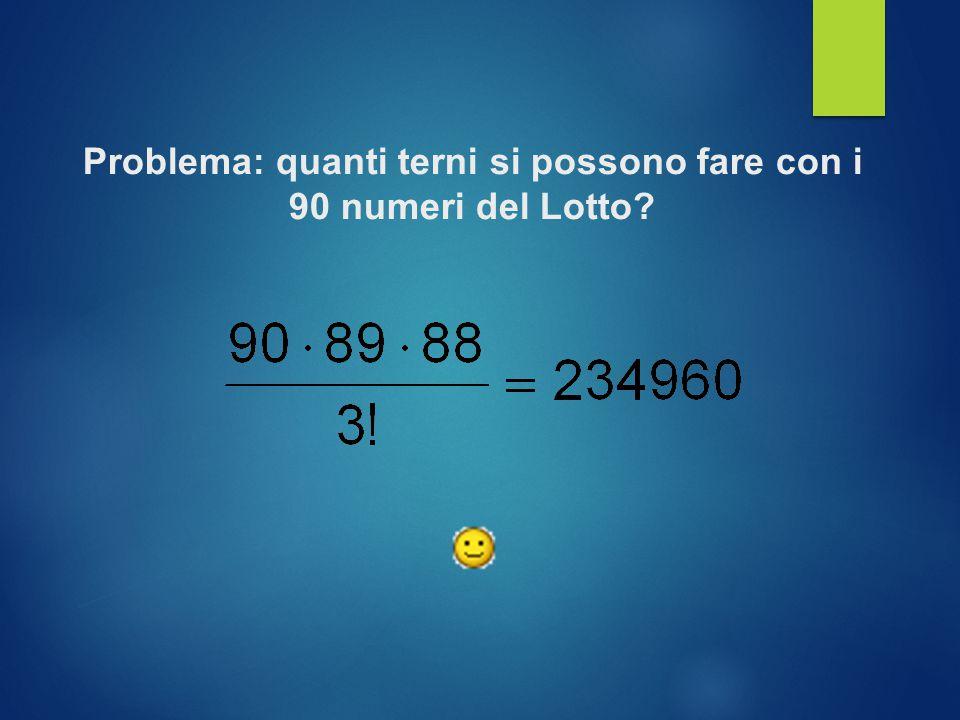 Problema: quanti terni si possono fare con i 90 numeri del Lotto?