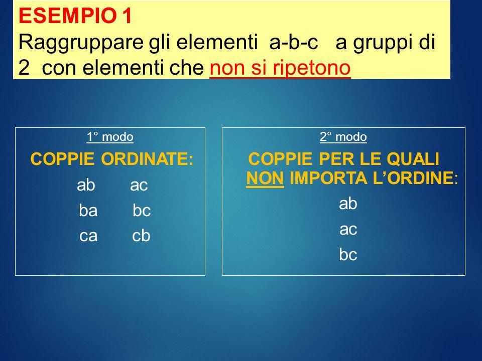 1° modo COPPIE ORDINATE: aa ab ac bb ba bc cc ca cb 2° modo COPPIE PER LE QUALI NON IMPORTA L'ORDINE: aa ab ac bb bc cc ESEMPIO 2 Raggruppare gli elementi a-b-c a gruppi di 2 con elementi possono ripetersi