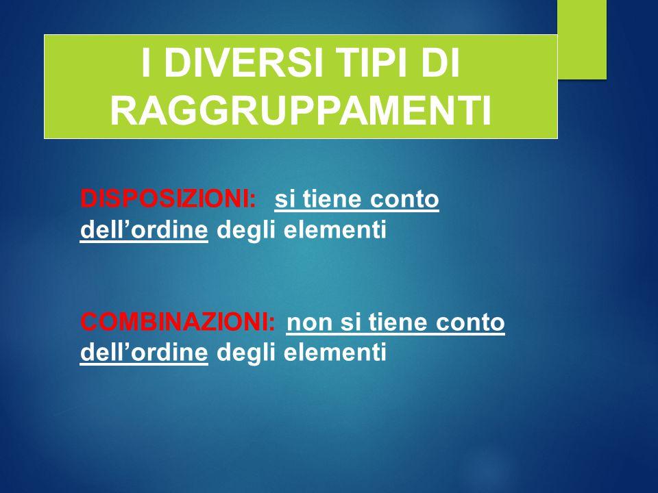 I DIVERSI TIPI DI RAGGRUPPAMENTI DISPOSIZIONI: si tiene conto dell'ordine degli elementi COMBINAZIONI: non si tiene conto dell'ordine degli elementi