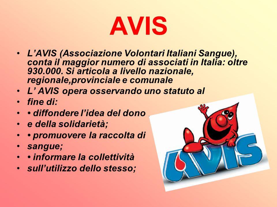 AVIS L'AVIS (Associazione Volontari Italiani Sangue), conta il maggior numero di associati in Italia: oltre 930.000. Si articola a livello nazionale,