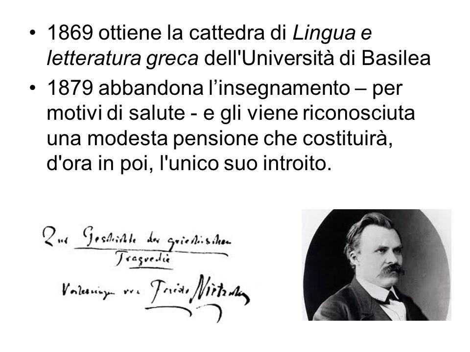 1869 ottiene la cattedra di Lingua e letteratura greca dell'Università di Basilea 1879 abbandona l'insegnamento – per motivi di salute - e gli viene r