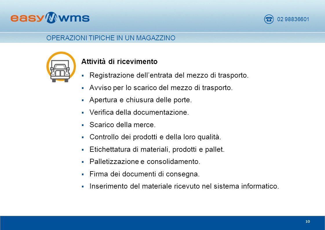 02 98836601 10 Attività di ricevimento  Registrazione dell'entrata del mezzo di trasporto.  Avviso per lo scarico del mezzo di trasporto.  Apertura