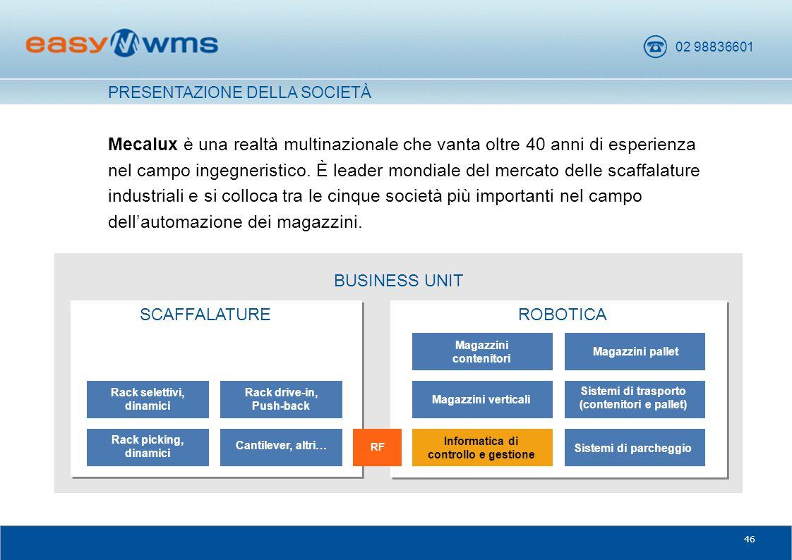 02 98836601 46 BUSINESS UNIT Mecalux è una realtà multinazionale che vanta oltre 40 anni di esperienza nel campo ingegneristico. È leader mondiale del