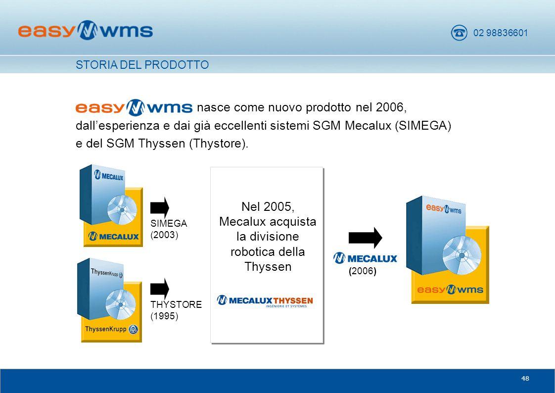 02 98836601 48 nasce come nuovo prodotto nel 2006, dall'esperienza e dai già eccellenti sistemi SGM Mecalux (SIMEGA) e del SGM Thyssen (Thystore). Nel