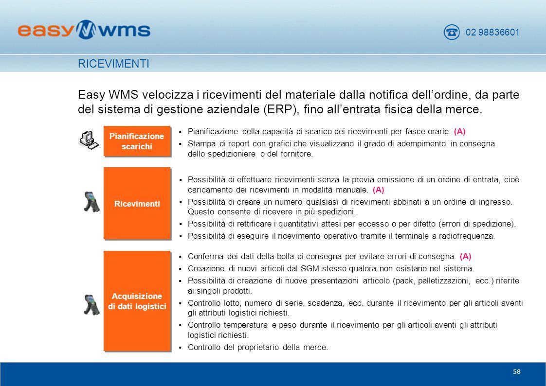 02 98836601 58 Easy WMS velocizza i ricevimenti del materiale dalla notifica dell'ordine, da parte del sistema di gestione aziendale (ERP), fino all'e