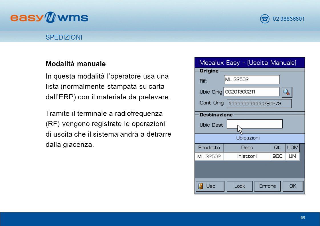 02 98836601 69 Modalità manuale In questa modalità l'operatore usa una lista (normalmente stampata su carta dall'ERP) con il materiale da prelevare. T