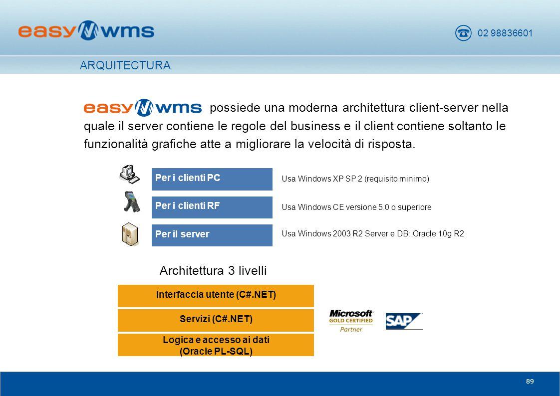 02 98836601 89 possiede una moderna architettura client-server nella quale il server contiene le regole del business e il client contiene soltanto le
