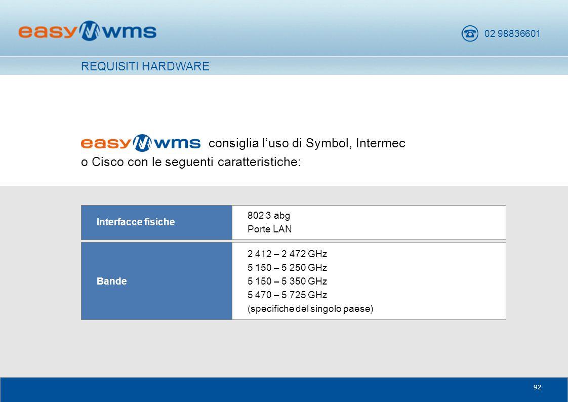 02 98836601 92 consiglia l'uso di Symbol, Intermec o Cisco con le seguenti caratteristiche: 2 412 – 2 472 GHz 5 150 – 5 250 GHz 5 150 – 5 350 GHz 5 47