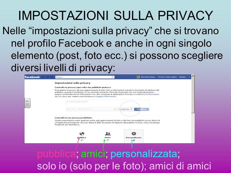 """IMPOSTAZIONI SULLA PRIVACY Nelle """"impostazioni sulla privacy"""" che si trovano nel profilo Facebook e anche in ogni singolo elemento (post, foto ecc.) s"""