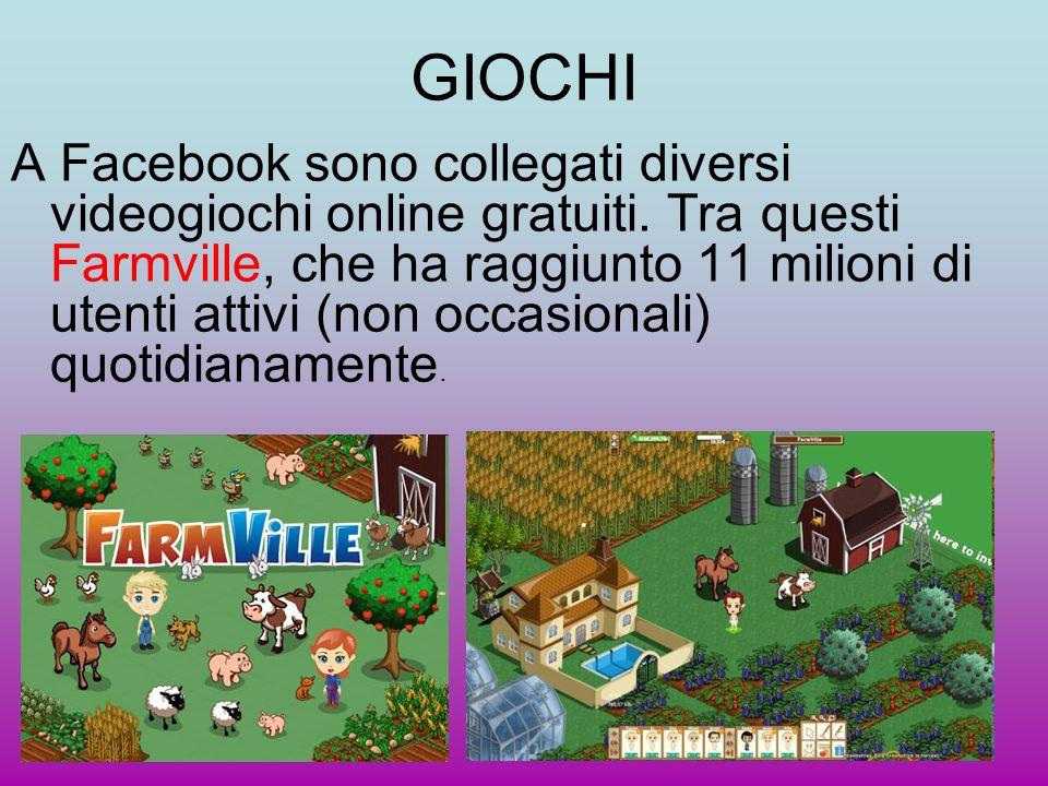 GIOCHI A Facebook sono collegati diversi videogiochi online gratuiti. Tra questi Farmville, che ha raggiunto 11 milioni di utenti attivi (non occasion