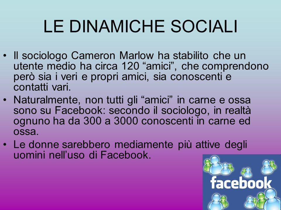 """LE DINAMICHE SOCIALI Il sociologo Cameron Marlow ha stabilito che un utente medio ha circa 120 """"amici"""", che comprendono però sia i veri e propri amici"""