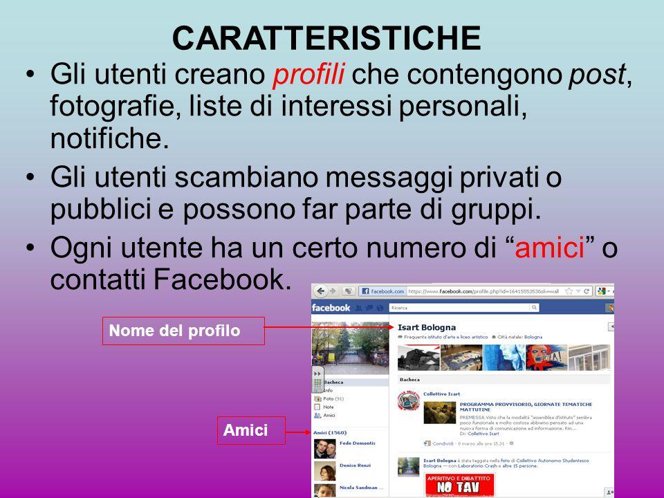 Gli utenti creano profili che contengono post, fotografie, liste di interessi personali, notifiche. Gli utenti scambiano messaggi privati o pubblici e