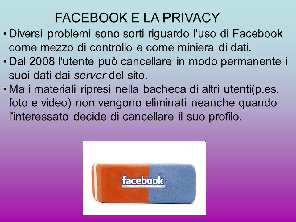 Diversi problemi sono sorti riguardo l'uso di Facebook come mezzo di controllo e come miniera di dati. Dal 2008 l'utente può cancellare in modo perman