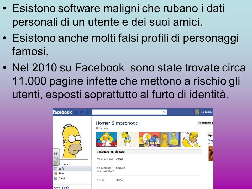 Esistono software maligni che rubano i dati personali di un utente e dei suoi amici. Esistono anche molti falsi profili di personaggi famosi. Nel 2010