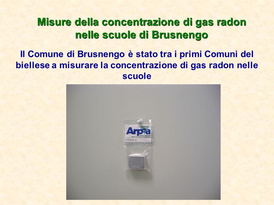 Misure della concentrazione di gas radon nelle scuole di Brusnengo Il Comune di Brusnengo è stato tra i primi Comuni del biellese a misurare la concen