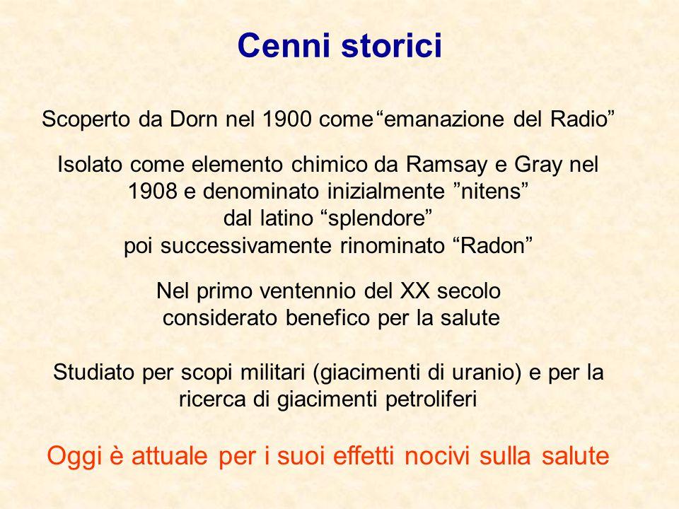 """Scoperto da Dorn nel 1900 come """"emanazione del Radio"""" Isolato come elemento chimico da Ramsay e Gray nel 1908 e denominato inizialmente """"nitens"""" dal l"""