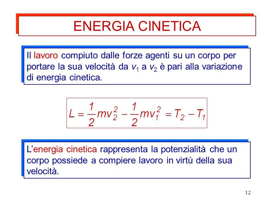 12 Il lavoro compiuto dalle forze agenti su un corpo per portare la sua velocità da v 1 a v 2 è pari alla variazione di energia cinetica. L'energia ci