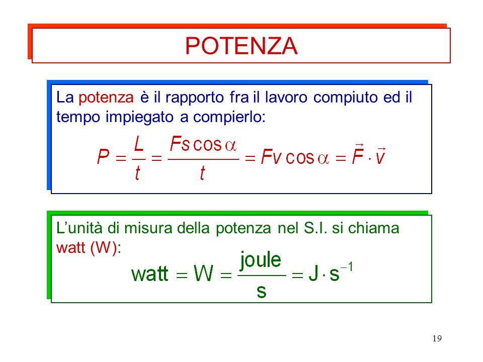 19 La potenza è il rapporto fra il lavoro compiuto ed il tempo impiegato a compierlo: L'unità di misura della potenza nel S.I. si chiama watt (W): POT