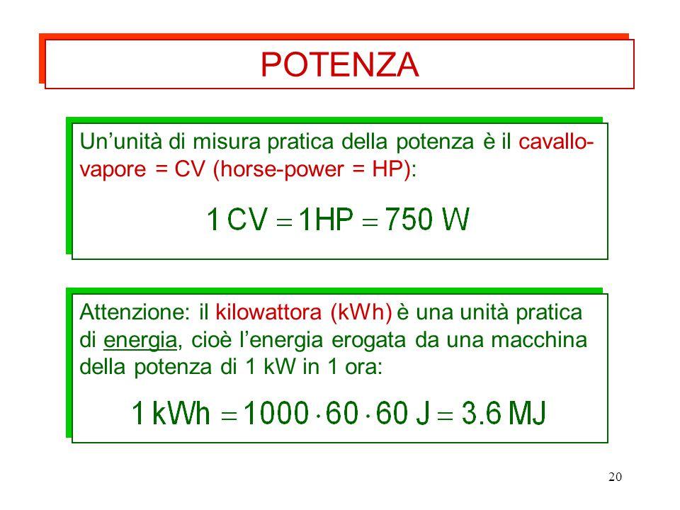 20 Attenzione: il kilowattora (kWh) è una unità pratica di energia, cioè l'energia erogata da una macchina della potenza di 1 kW in 1 ora: Un'unità di