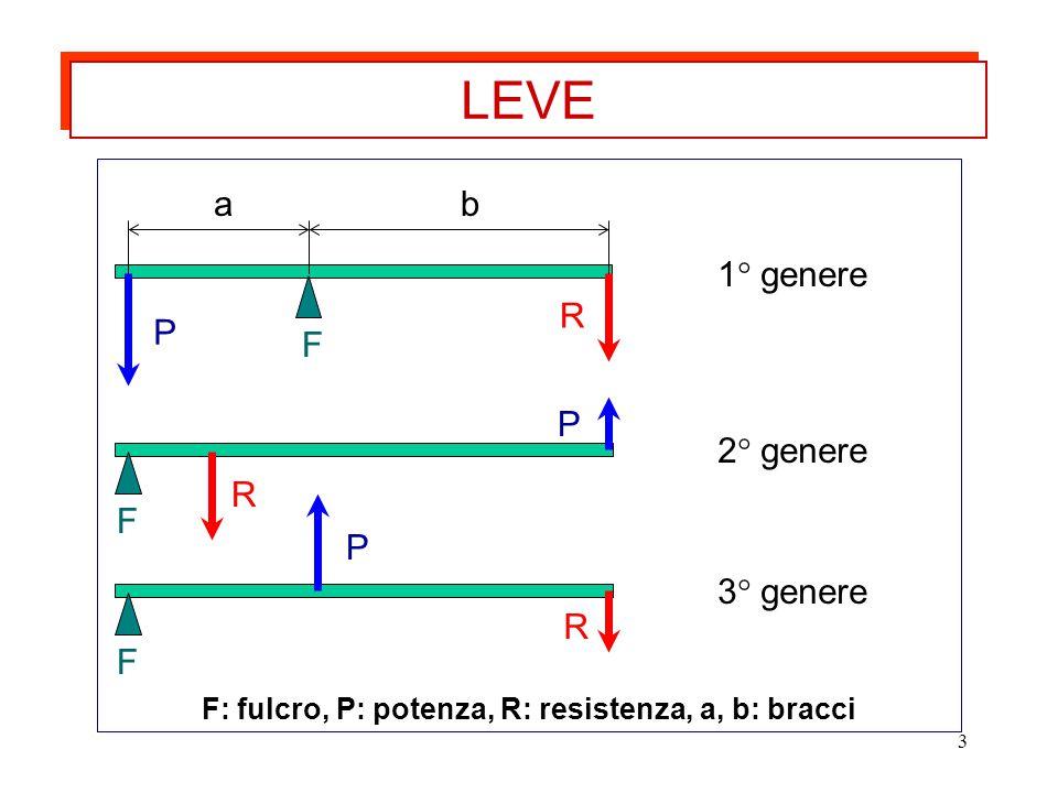 3 ab R P F F: fulcro, P: potenza, R: resistenza, a, b: bracci LEVE P R F P R F 1° genere 2° genere 3° genere