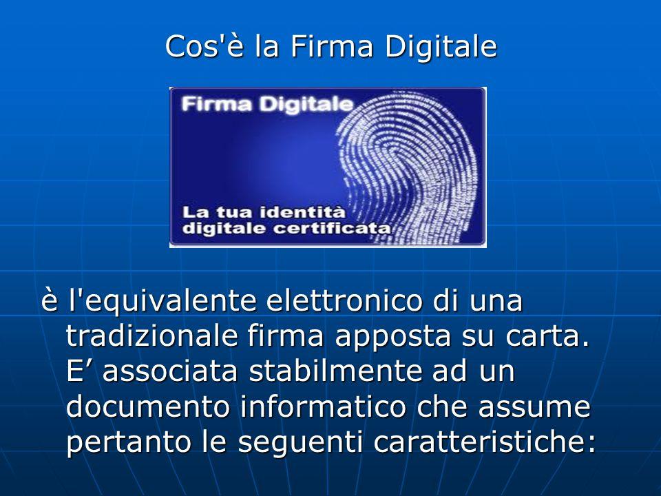 Cos è la Firma Digitale è l equivalente elettronico di una tradizionale firma apposta su carta.