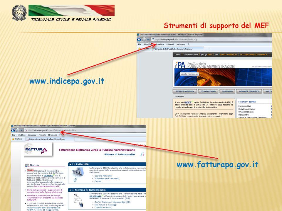www.indicepa.gov.it www.fatturapa.gov.it Strumenti di supporto del MEF