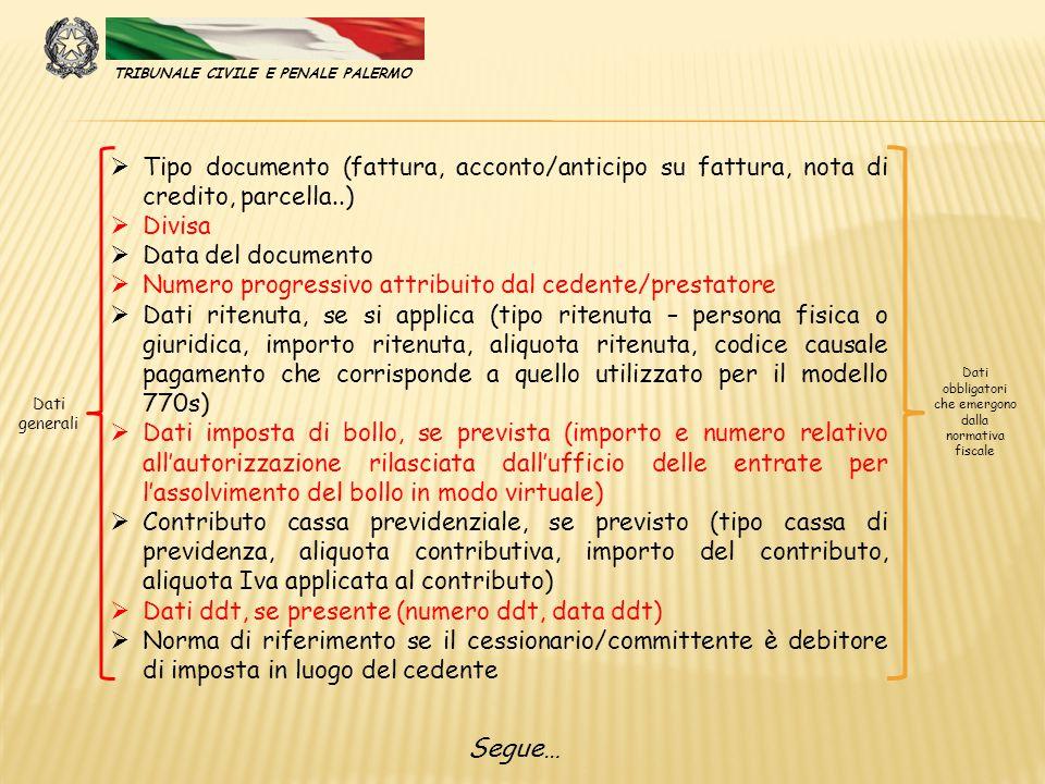  Tipo documento (fattura, acconto/anticipo su fattura, nota di credito, parcella..)  Divisa  Data del documento  Numero progressivo attribuito dal