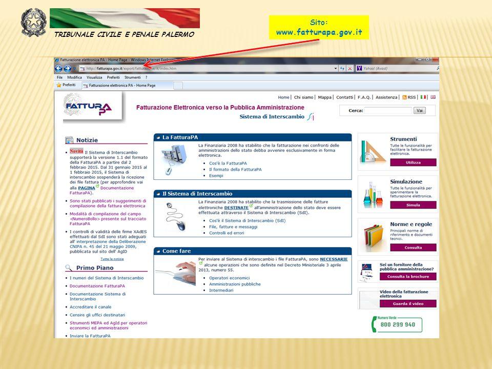 Sito: www.fatturapa.gov.it TRIBUNALE CIVILE E PENALE PALERMO