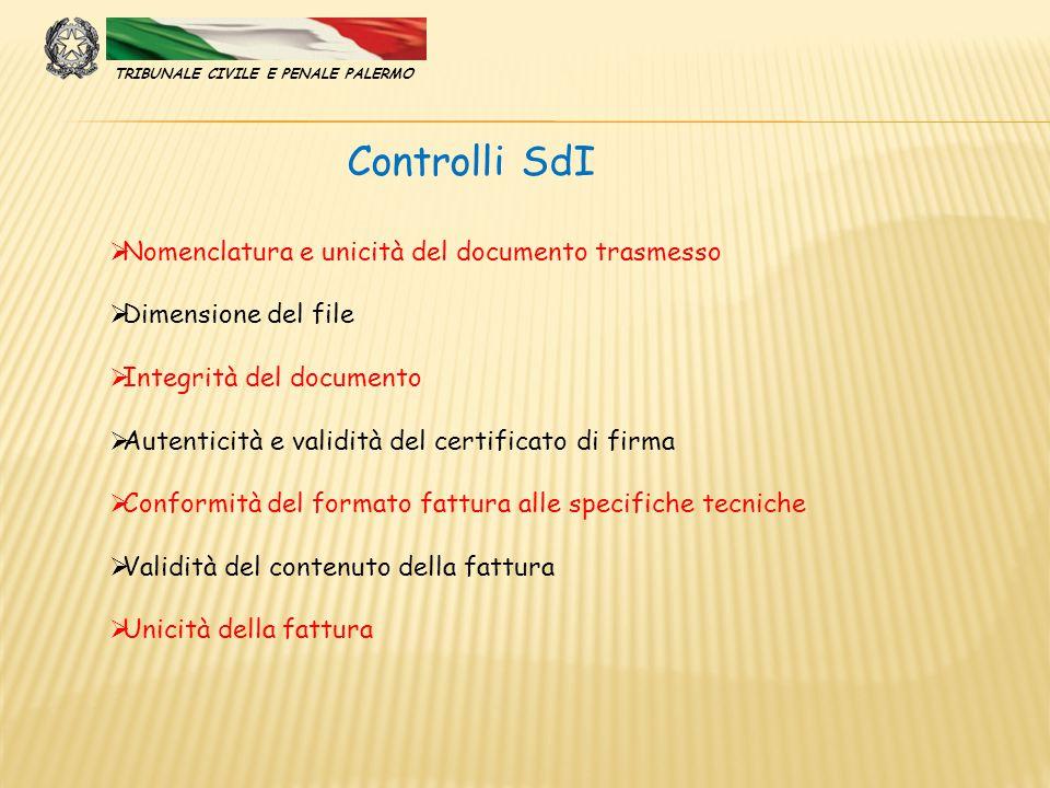  Nomenclatura e unicità del documento trasmesso  Dimensione del file  Integrità del documento  Autenticità e validità del certificato di firma  C