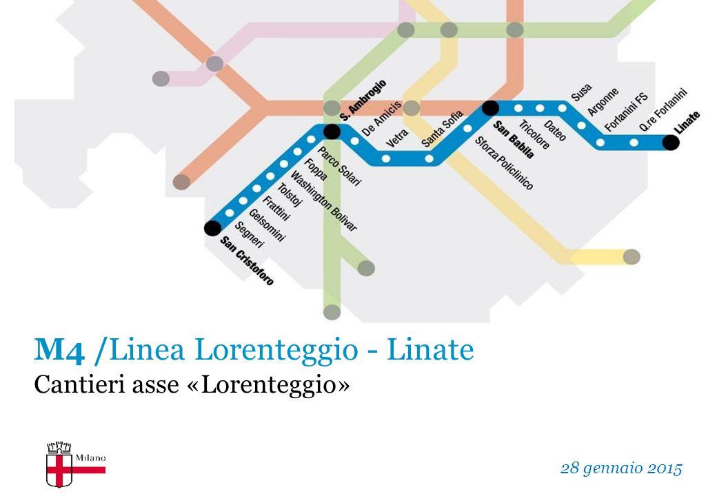 Il progetto La Linea M4 della metropolitana di Milano collega direttamente il centro della città con: –quartiere Forlanini (Milano Est - fino all'Aeroporto di Linate), –quartiere Lorenteggio (Milano Ovest - fino a San Cristoforo).
