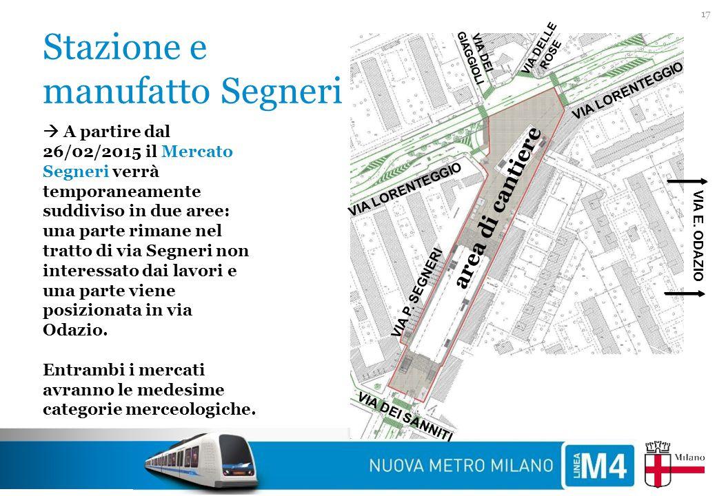 Stazione e manufatto Segneri 17 VIA P. SEGNERI VIA LORENTEGGIO VIA DEI SANNITI VIA DEI GIAGGIOLI VIA DELLE ROSE area di cantiere  A partire dal 26/02
