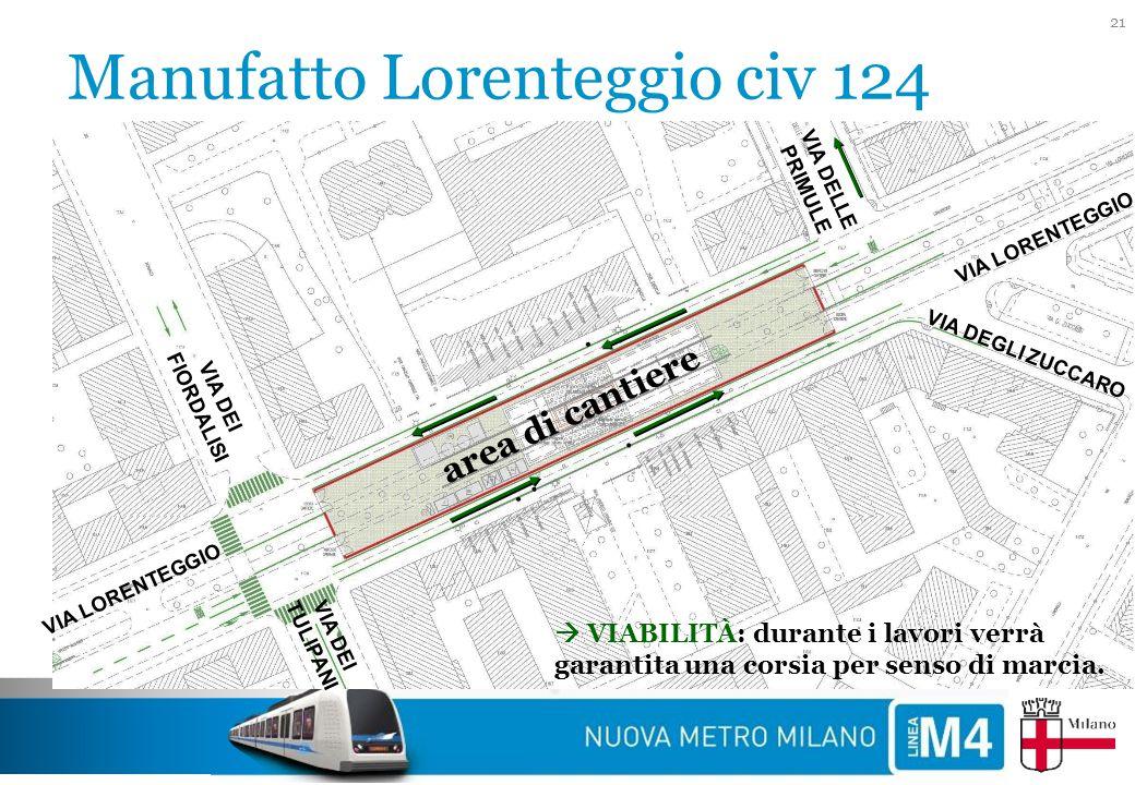 Manufatto Lorenteggio civ 124 21 VIA LORENTEGGIO VIA DEGLI ZUCCARO VIA DEI FIORDALISI VIA DEI TULIPANI VIA DELLE PRIMULE VIA LORENTEGGIO  VIABILITÀ: