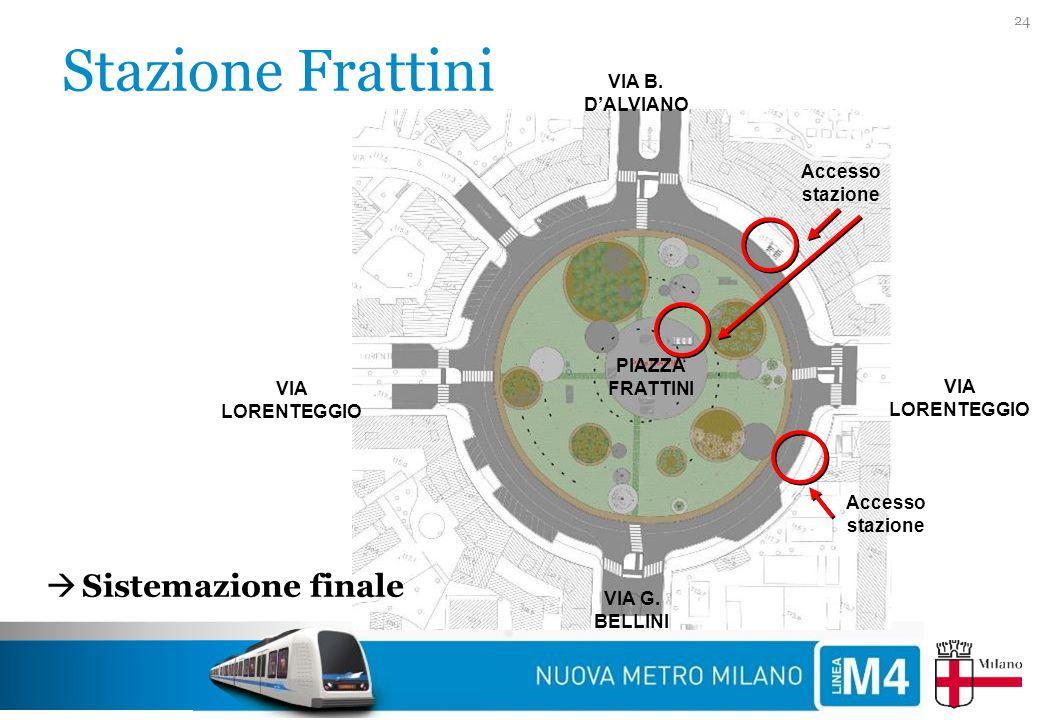 Stazione Frattini 24 PIAZZA FRATTINI VIA LORENTEGGIO VIA G. BELLINI VIA B. D'ALVIANO  Sistemazione finale Accesso stazione