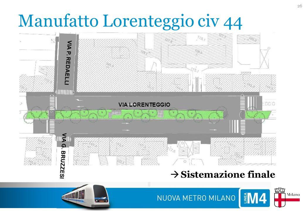 Manufatto Lorenteggio civ 44 26 VIA G. BRUZZESI VIA P. REDAELLI VIA LORENTEGGIO  Sistemazione finale