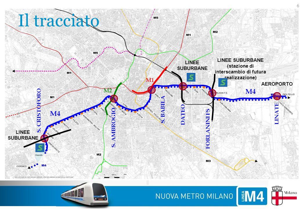 Il tracciato 6 M4 LINEE SUBURBANE (stazione di interscambio di futura realizzazione) LINEE SUBURBANE M1 M2 FORLANINI FS DATEO S. BABILA S. AMBROGIO AE