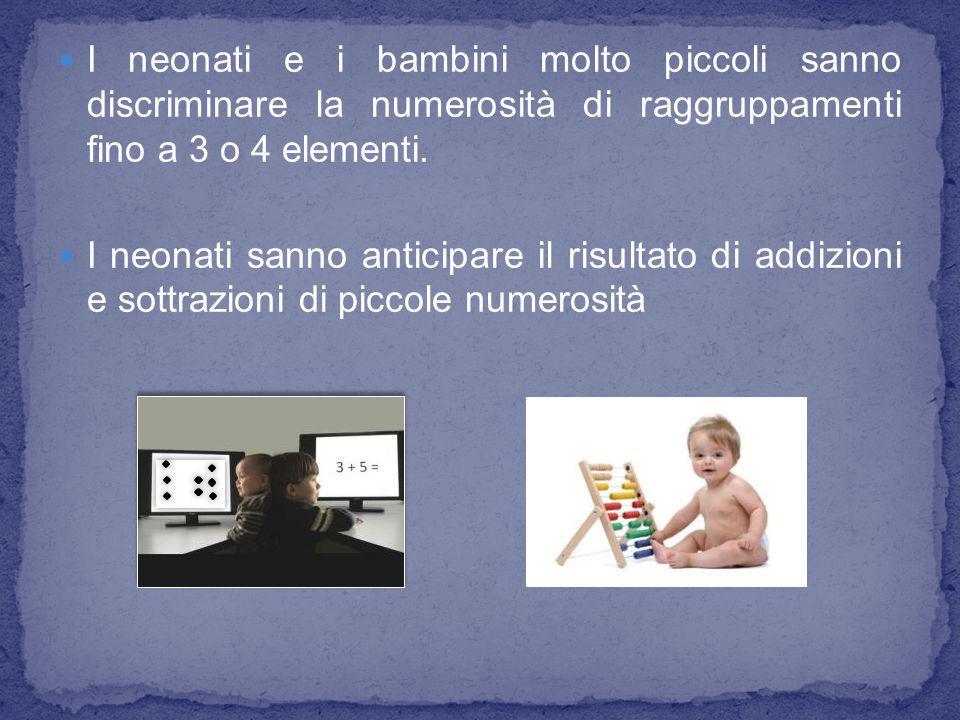 I neonati e i bambini molto piccoli sanno discriminare la numerosità di raggruppamenti fino a 3 o 4 elementi. I neonati sanno anticipare il risultato