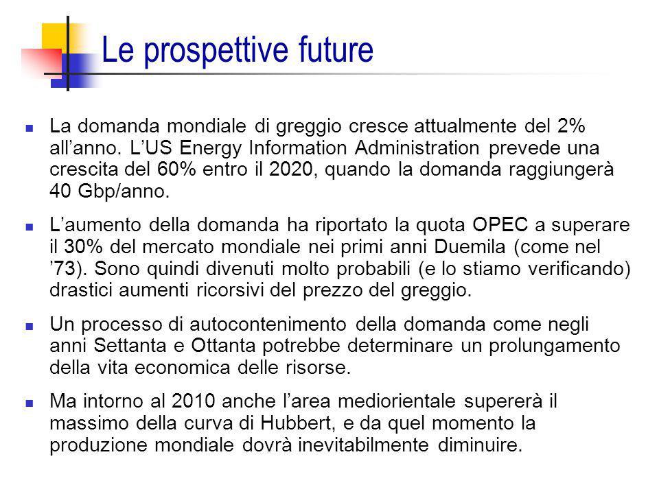 Le prospettive future La domanda mondiale di greggio cresce attualmente del 2% all'anno. L'US Energy Information Administration prevede una crescita d