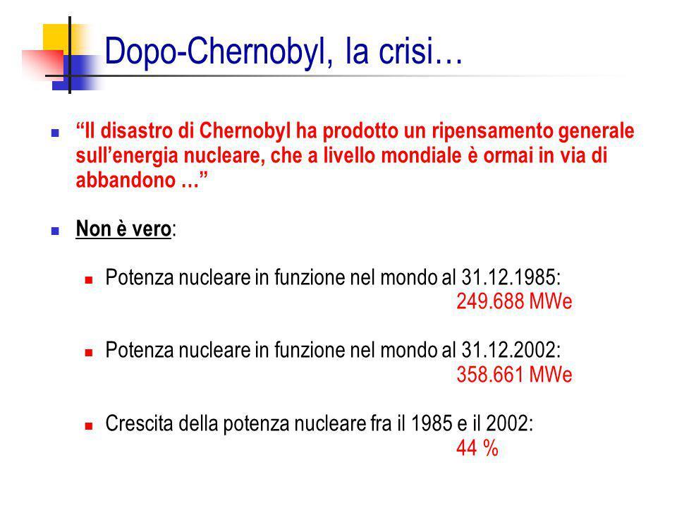 """""""Il disastro di Chernobyl ha prodotto un ripensamento generale sull'energia nucleare, che a livello mondiale è ormai in via di abbandono …"""" Non è vero"""