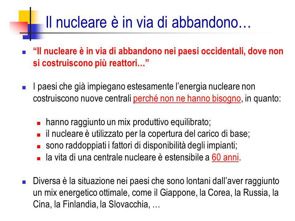 """""""Il nucleare è in via di abbandono nei paesi occidentali, dove non si costruiscono più reattori…"""" I paesi che già impiegano estesamente l'energia nucl"""